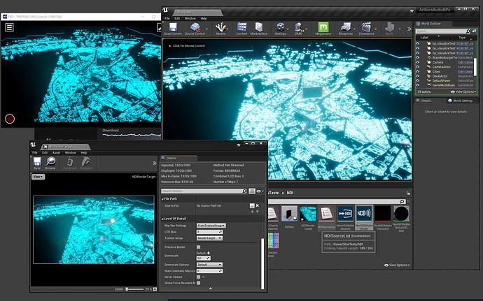 viewport: big upper right; NDI texture target: lower left; NDI monitor: upper left