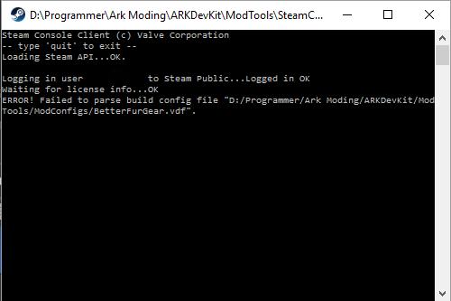 ARK Dev kit error.png